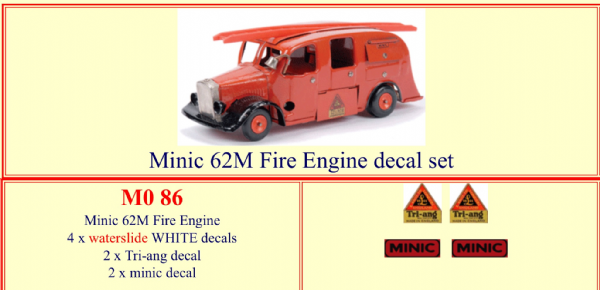 M086 Tri-ang ( Triang ) Minic 62M FIRE ENGINE decal set